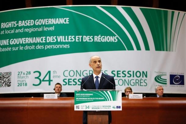 El cap de Govern, Antoni Martí, durant la seva intervenció al Congrés de Poders Locals i Regionals del Consell d'Europa.