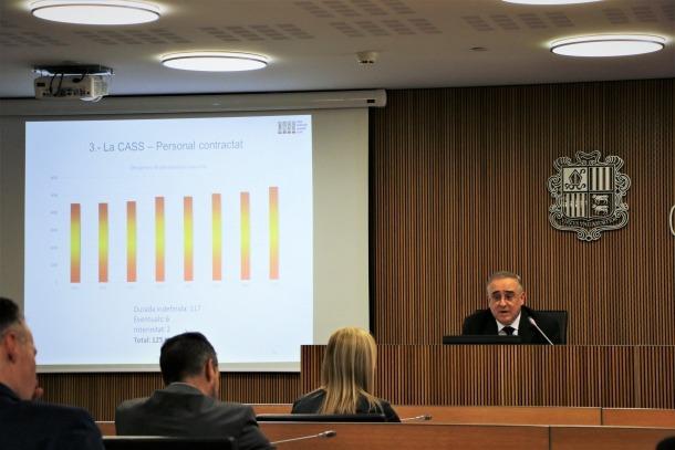 Albert Font en un moment de la compareixença davant la comissió legislativa de Finances i Pressupost i la de Sanitat.