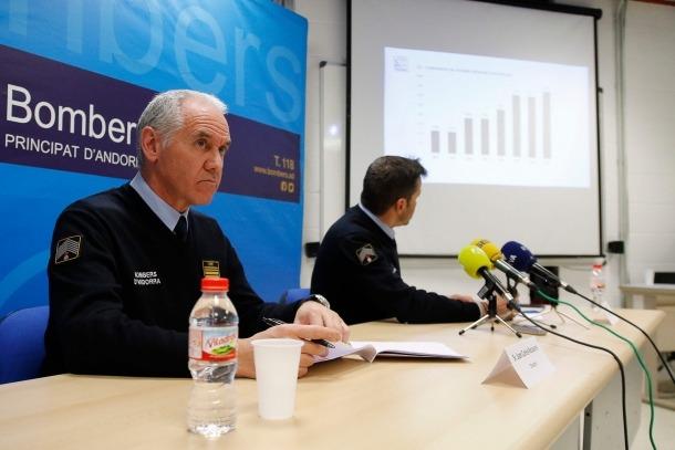 Recasens i Farré van presentar el balanç de l'activitat dels bombers durant el 2017.