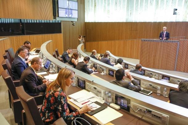Martí en una de les seves intervencions en la sessió del Consell General d'ahir.