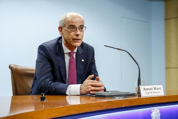 Martí en la compareixença d'ahir per anunciar la dissolució del Consell General i la convocatòria d'eleccions generals.