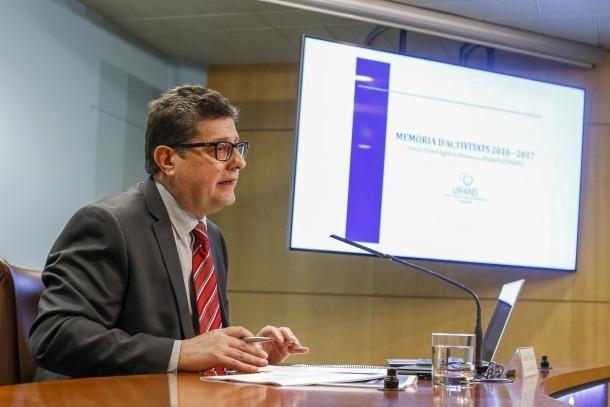 El cap de la Uifand, Carles Fiñana, va presentar la memòria de l'activitat del 2016 i el 2017, ahir.