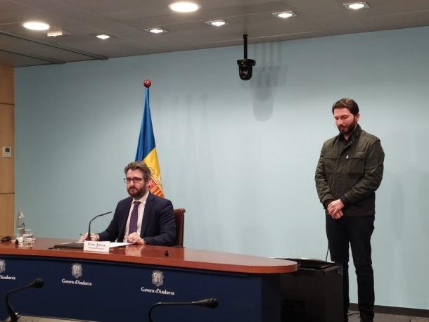 El ministre portaveu, Eric Jover, en la comapreixença d'aquest vespre.