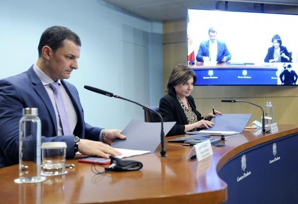 Jordi Gallardo i Verònica Canals en la compareixença d'ahir a la tarda.