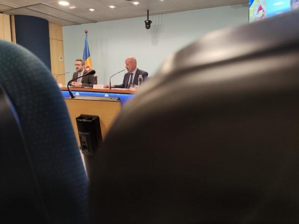 Un moment de la compareixença del ministre portaveu, Eric Jover, d'ahir a la tarda.
