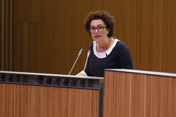 La consellera general liberal, Judith Pallarés, en un moment de la seva intervenció.