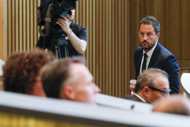 El conseller general del PS Pere López, ahir, al Consell General.