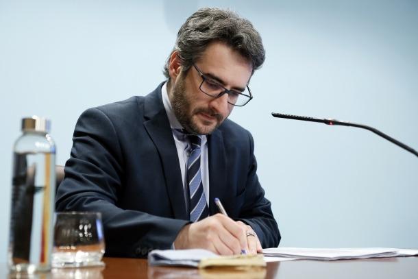 El ministre portaveu, Eric Jover, en la compareixença d'aquesta tarda.