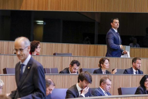 El cap de Govern, Antoni Martí, va mantenir un dur enfrontament amb el president del grup liberal, Jordi Gallardo.