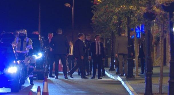 Macron arribant a l'Sport Hotel Hermitage de Soldeu.