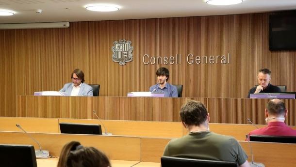 Els presidents dels grups de la majoria, ahir al Consell General.