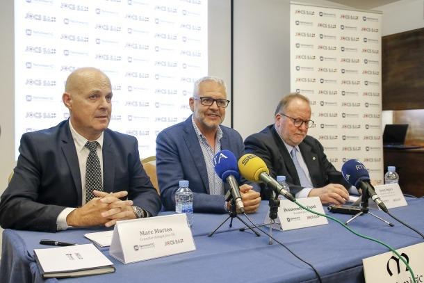 Marc Martos, Ventura Espot i Josep Segura van valorar ahir l'adjudicació de la llicència del casino al projecte de Jocs SA.