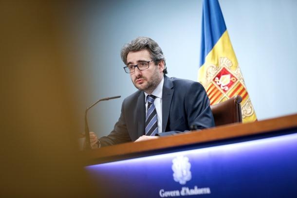 El titular de Finances i portaveu de l'executiu, Eric Jover, en la compareixença posterior al consell de ministres d'ahir.