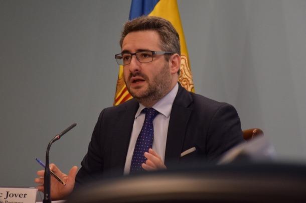 El ministre de Finances i portaveu de l'executiu, Eric Jover, durant la compareixença d'ahir a la tarda.