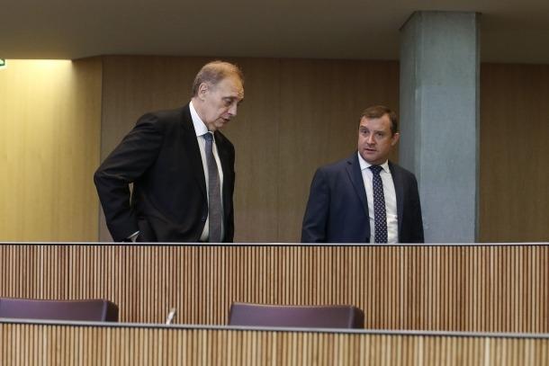 Els consellers generals de Terceravia+UL+Independents Josep Pintat i Josep Majoral.