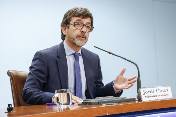 El portaveu de l'executiu, Jordi Cinca, durant la compareixença d'ahir posterior al consell de ministres.