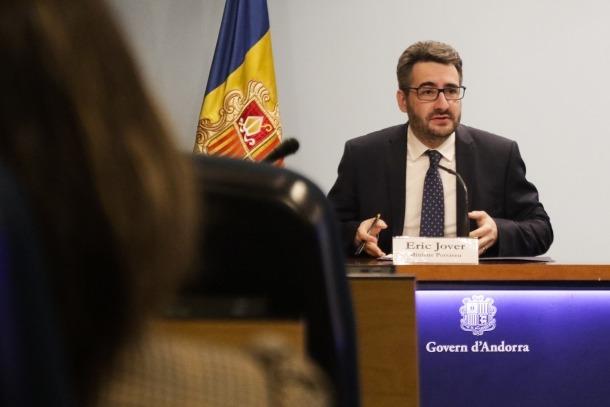 El ministre portaveu, Eric Jover, en la roda de premsa celebrada ahir.