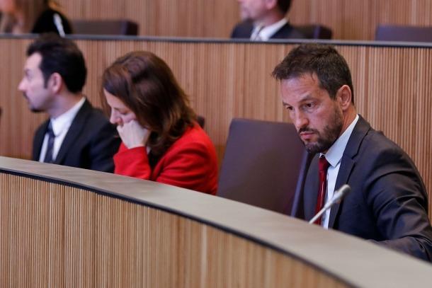 Els parlamentaris del PS, Gerard Alís, Rosa Gili i Pere López, en una sessió del Consell General.