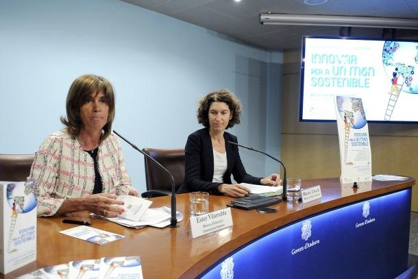 Les ministres Ester Vilarrubla i Maria Ubach, ahir.