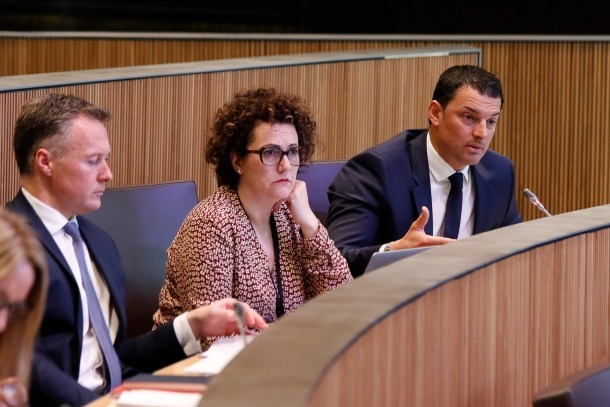 Els consellers generals liberals, Ferran Costa, Judith Pallarés i Jordi Gallardo, en una sessió del Consell General.