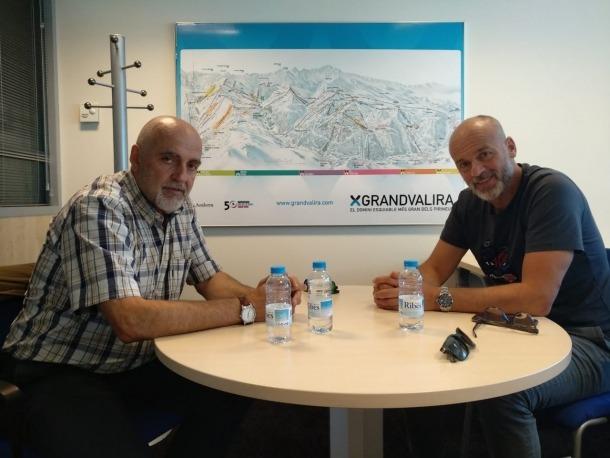 Manel Arajol i Xavi Salinas durant la reunió que van mantenir.