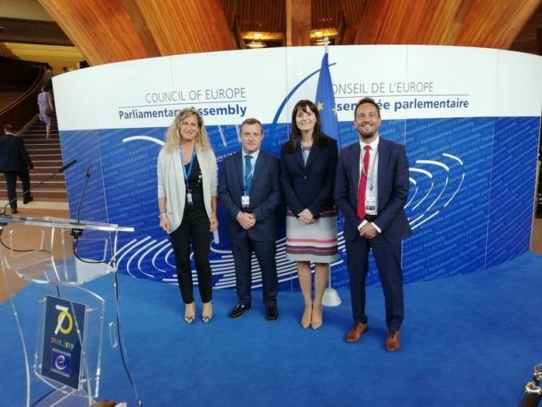Eva López, Josep Majoral, Mònica Bonell i Pere López, a l'APCE.