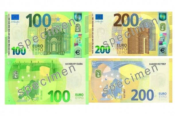 Els nous bitllets de 100 i 200 euros que circulen ja des d'ahir.