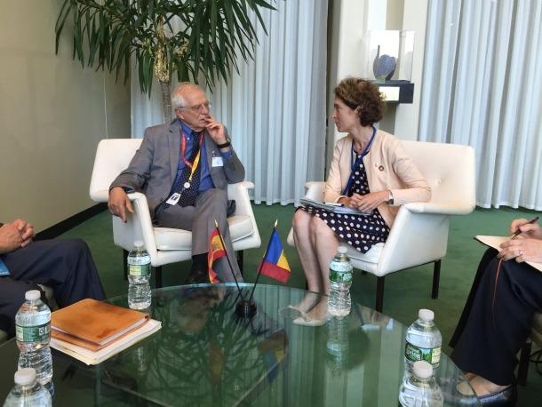 Ubach es va reunir amb Borrell per primera vegada en el marc de l'Ecosoc, ahir.