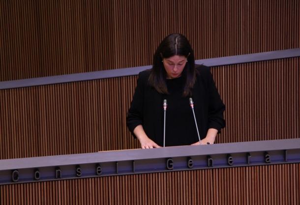 La consellera general de DA Maria Martisella en un moment de la seva intervenció.