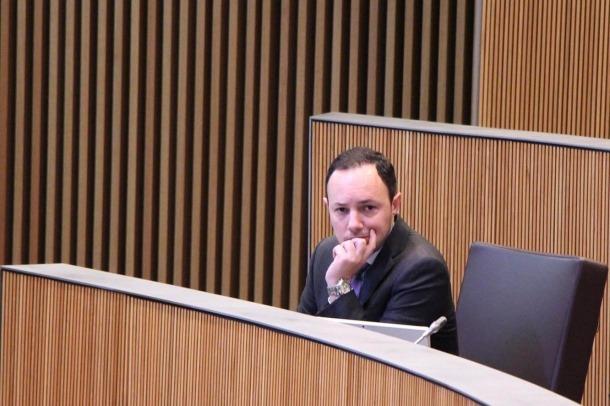 El ministre d'Afers Socials, Justícia i Interior, Xavier Espot, durant la sessió de Consell General.