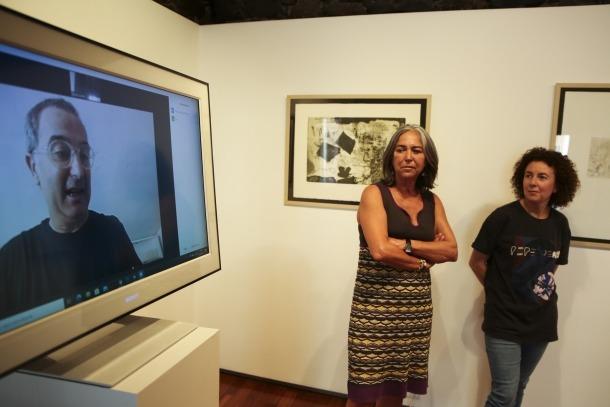Baygual i Luque, en la presentació del concurs, amb Ortega en compareixença virtual.