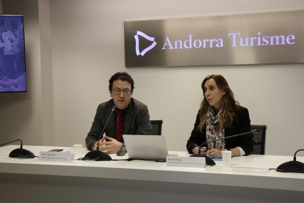 Betim Budzaku i Noemí Pedra en la presentació del balanç de l'Andorra Shopping Festival, ahir al matí.