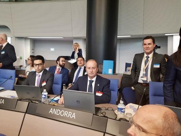 El ministre de Justícia i Interior, Josep Maria Rossell, al Consell d'Europa.