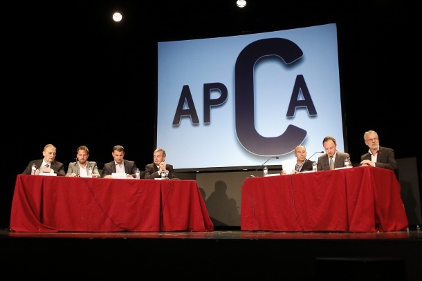 Un moment del debat entre els set candidats a cap de Govern organitzat per l'APCA al Prat del Roure d'Escaldes-Engordany.