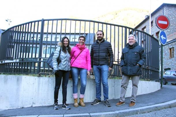 Eva Choy, d'En Comú per Ordino, acompanyada ahir per Serracanta, Rabadà i Escabrós.