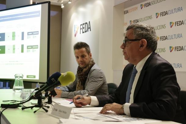 Albert Moles i Xavier Martín, de 9mk, en la presentació de l'enquesta, ahir.