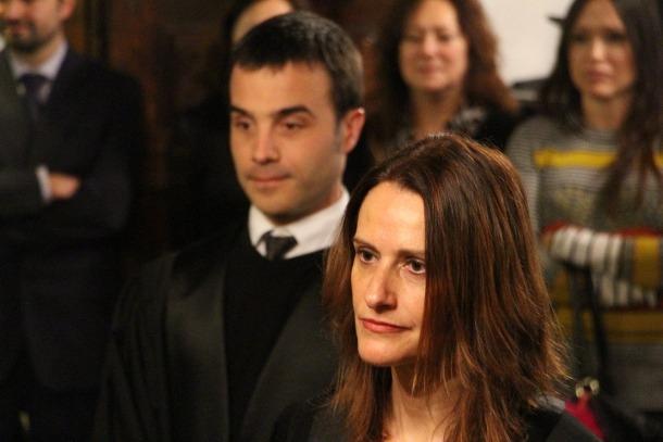 L'acte de renovació dels càrrecs de la fiscal adjunta Alexandra Cornella i del batlle Xavier Colom.