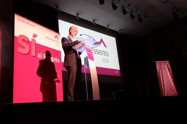 El candidat de Progressistes-SDP, Josep Roig, en un moment de la seva intervenció.