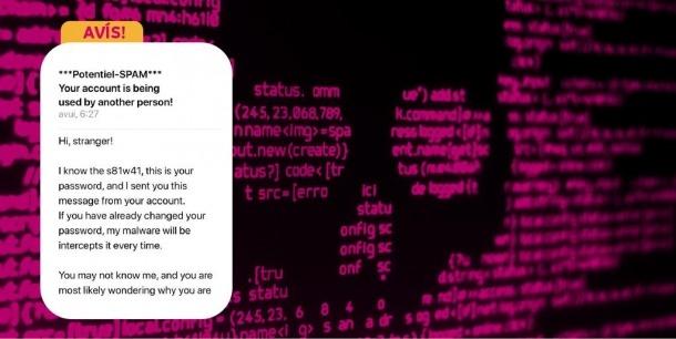 Missatge alertant sobre un xantatge informàtic.