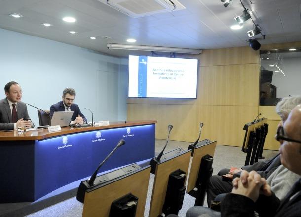 Els ministres d'Interior i d'Educació i Ensenyament Superior, Xavier Espot i Eric Jover, ahir.