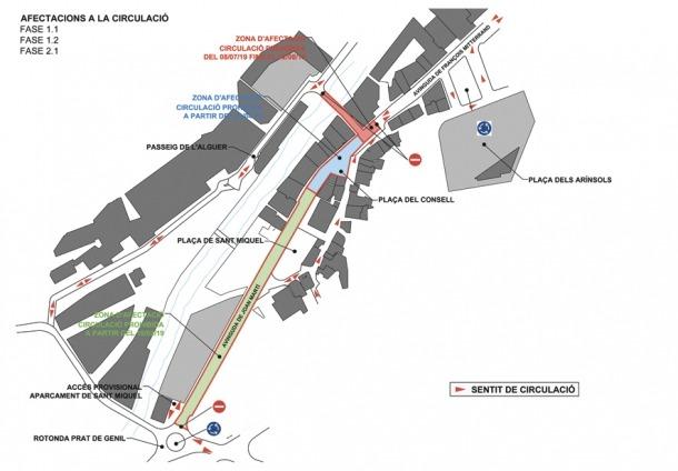 El plànol amb les afectacions de trànsit previstes elaborat pel Comú.