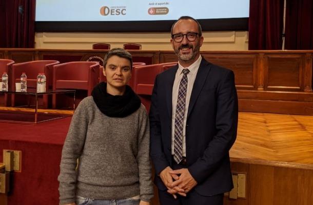 Filloy amb la la regidora de l'Ajuntament de Barcelona, Lucía Martín.