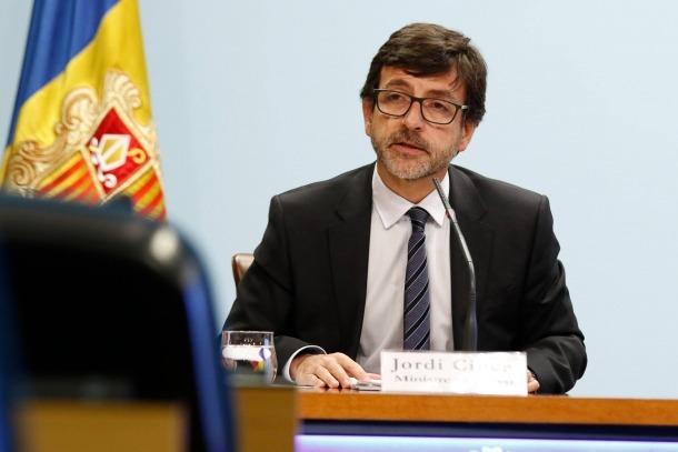 El ministre portaveu, Jordi Cinca, en la compareixença d'ahir.