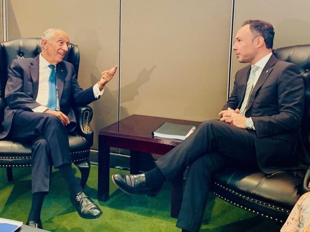 Xavier Espot amb el president portuguès, Marcelo Rebelo de Sousa.