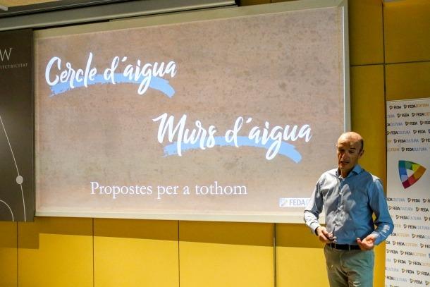 Claudi Sala va presentar el Cercle de l'aigua ahir al matí al Museu de l'electricitat.