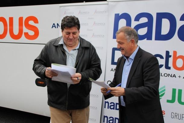 Josep Saravia i Bartomeu Gabriel en la renovació del conveni.