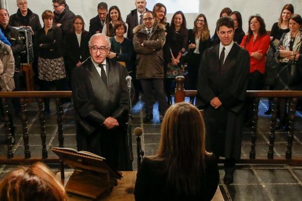 Acte de presa de possessió del nou magistrat substitut i del fiscal adjunt, ahir.