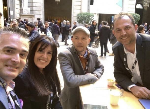 L'inversor Eneko Knorr amb Marta Ambor, Alejandro Hevia i Miquel Gouarré d'Andorra Telecom.
