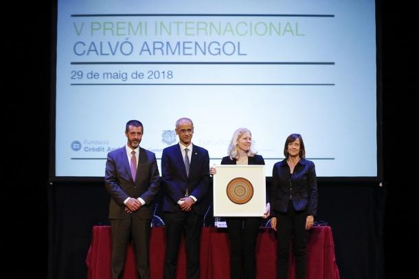 Dell amb el president del consell d'administració de Crèdit Andorrà, Antoni Pintat; el cap de Govern i Teresa Garcia-Milà.
