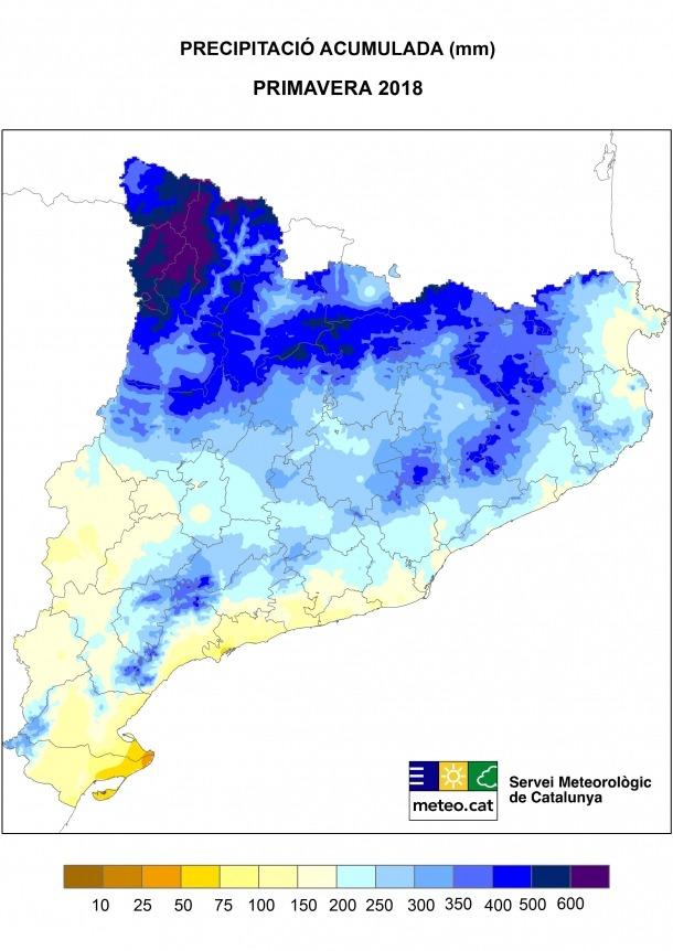 El mapa de pluges elaborat pel servei de Meteorologia de Catalunya.